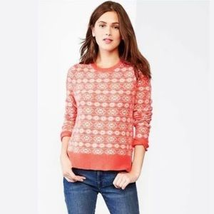 GAP Fairisle Coral Lambswool Pullover Sweater XL